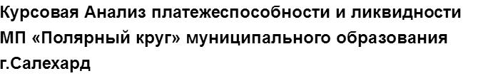 """Учебная работа № 74579.  """"Курсовая Анализ платежеспособности и ликвидности МП «Полярный круг» муниципального образования г.Салехард"""
